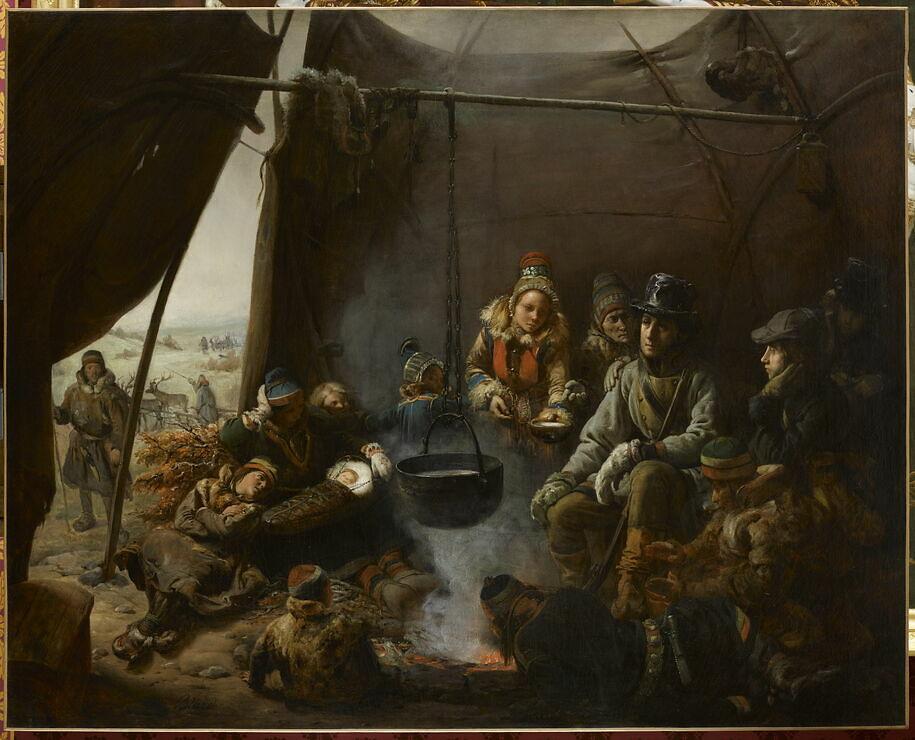 Le duc d'Orléans reçu dans un campement de Lapons