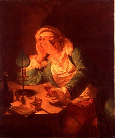Un Homme, le verre à la main, éclairé d'une bougie