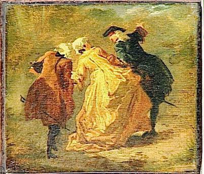 Étude de trois personnages pour la fête de la place Navone