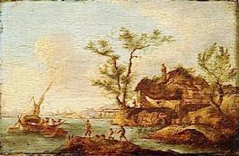 Paysage avec une barque