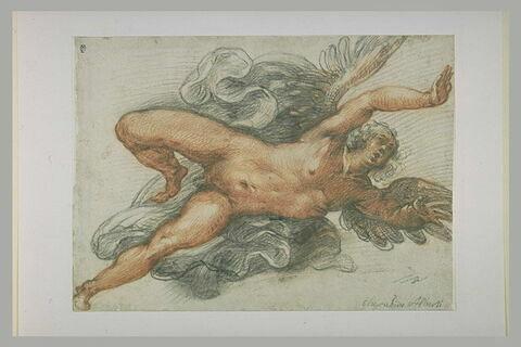 Figure nue d'un Ange ou d'un génie volant, tourné vers la droite.