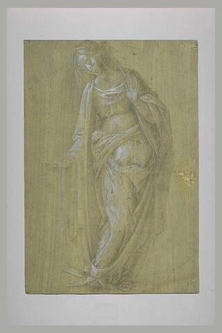 Vierge de l'Annonciation, debout, la tête inclinée vers la gauche