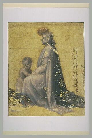 Homme agenouillé, tourné vers la gauche, avec un enfant