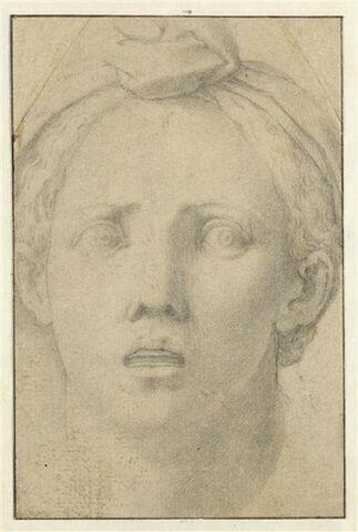 Tête de femme de face, coiffée d'un turban