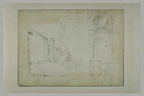 Paysage avec une muraille et croquis d'architecture