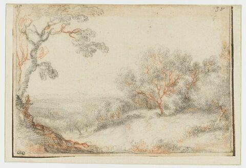 Paysage avec un arbre au premier plan, à gauche