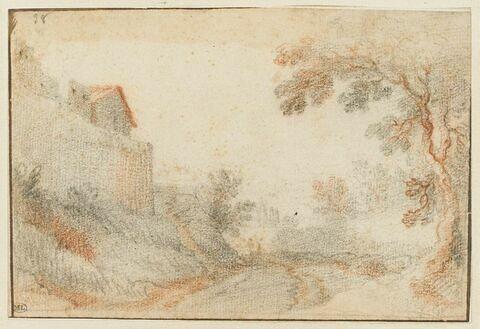 Paysage avec une maison, à gauche, et un arbre, à droite