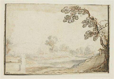 Paysage avec un arbre au premier plan, à droite