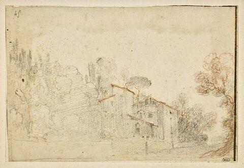 Paysage avec une maison entourée d'arbres