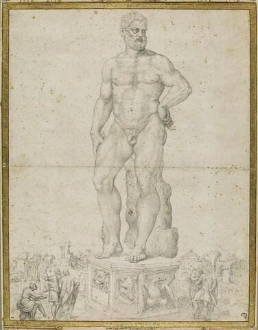 Statue d'Hercule sur un piédestal, personnages la dessinant et  contemplant