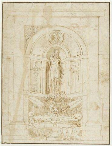 Projet d'une fontaine avec la statue d'Esculape dans une niche