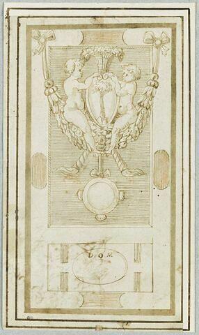 Projet de pierre tombale : décoré d'un écu, de putti, de torches renversées et de guirlandes