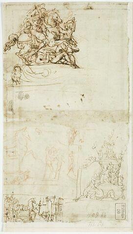 Quatre croquis : cavalier, le cheval de Troie, un monument guerrier