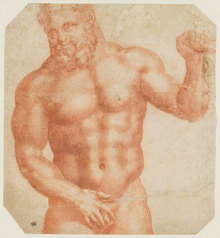 Hercule nu, de face, vu à mi corps, le bras gauche levé