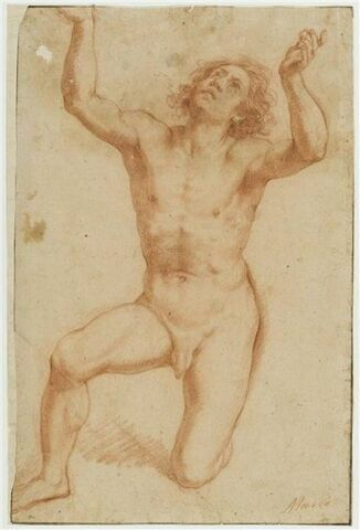 Académie d'homme nu à genoux, les bras et les yeux levés vers le ciel