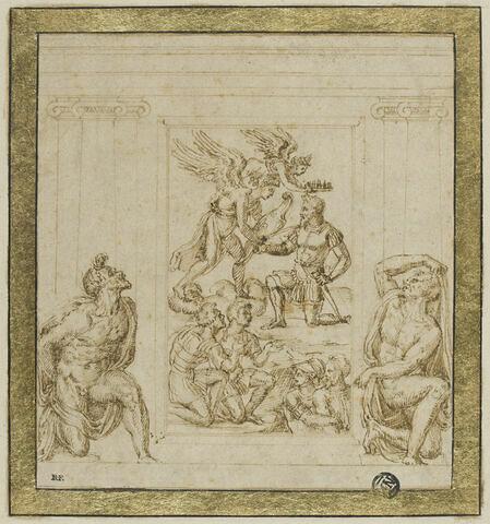 Étude pour un relief avec un condottiere couronné par deux anges