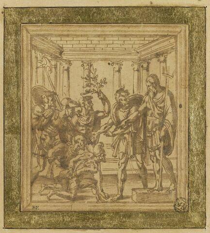 Deux prisonniers présentés par des soldats à un personnage armé d'un trident