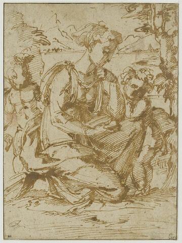 Vierge à l'Enfant avec le petit saint Jean, dans un paysage