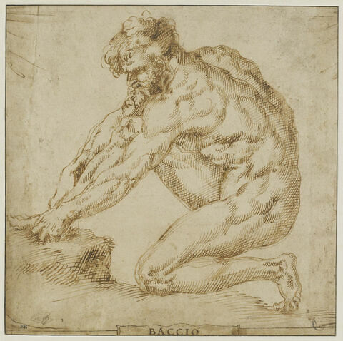 Figure d'homme nu agenouillé, vu de profil, se déchaussant
