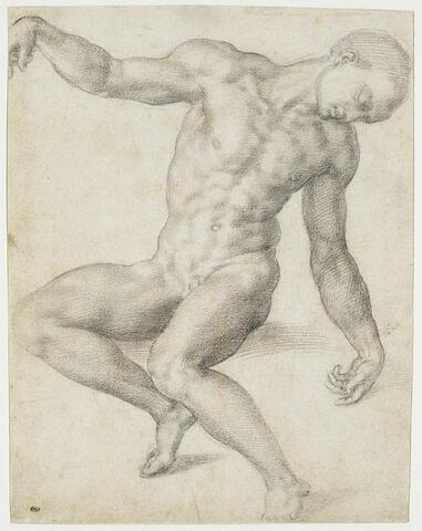 Homme nu, assis, les bras écartés, la tête penchée vers la droite