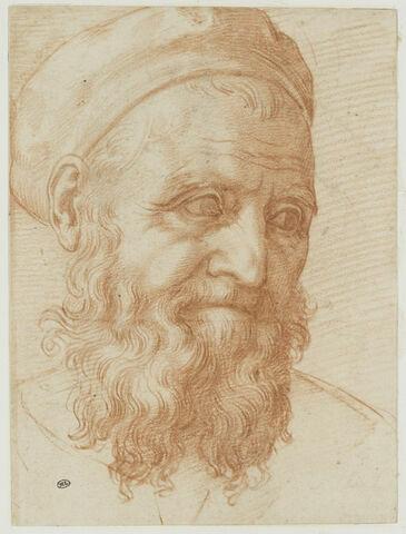 Tête d'homme barbu, le regard fixé à droite : autoportrait ?