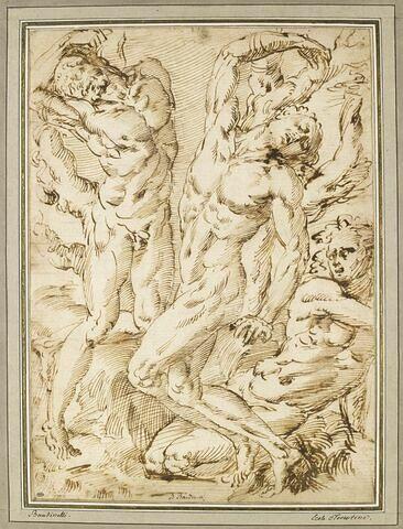 Deux hommes nus attachés à un arbre ; un homme nu plié sur ses genoux