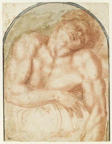 Homme nu, endormi, vu à mi corps, la tête inclinée vers la droite