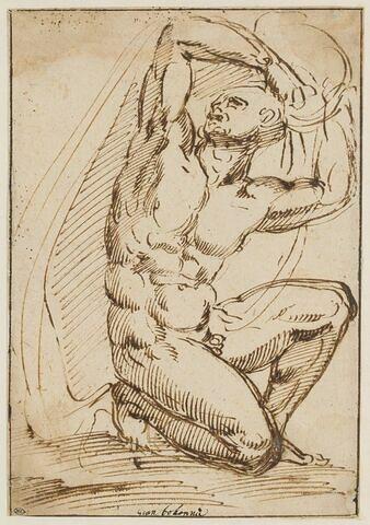 Homme nu à genoux, les deux bras sur la tête retenant une draperie