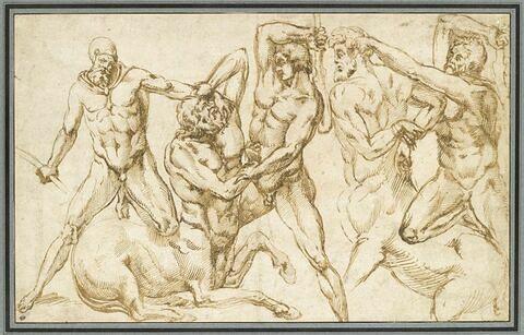 Trois hommes nus luttant avec deux centaures