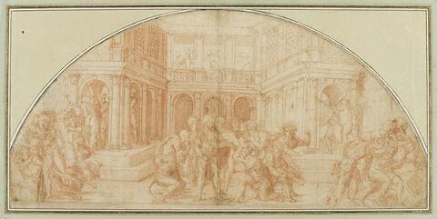 Scène avec plusieurs soldats et femmes s'enfuyant, devant un palais