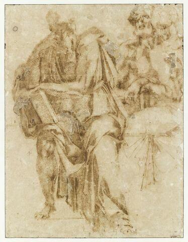 Groupe de trois hommes drapés, assis, tenant des livres : des prophètes?