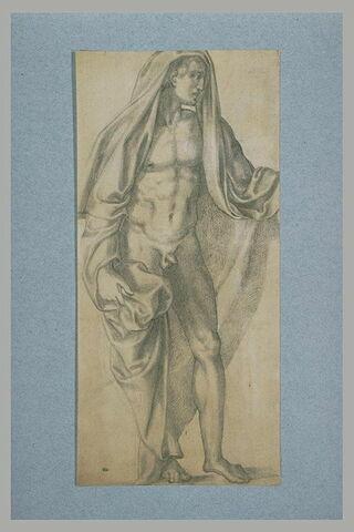 Homme nu, sous une draperie, debout, tourné vers la droite