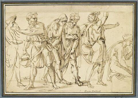 Composition avec six figures, dont cinq en mouvement