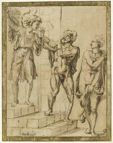 Adam et Eve chassés du paradis par l'ange