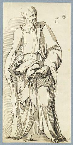 Homme drapé, debout, tenant une massue et un livre : saint Jacques le Mineur