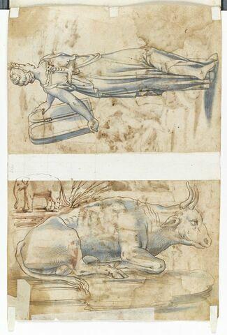 Feuille d'études avec un boeuf couché, un éléphant et une femme