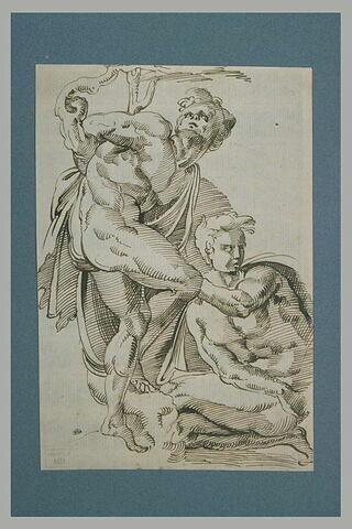Deux hommes nus : l'un attaché à un arbre, l'autre à genoux