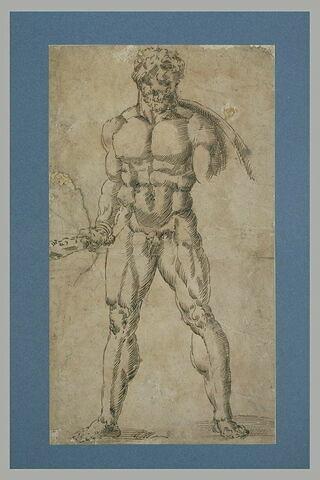 Homme nu, debout, vu de face, les jambes écartées, tenant un bâton: Hercule?