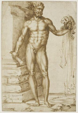 Hercule tenant la peau du lion de Némée