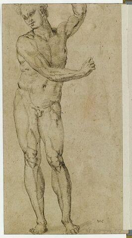 Homme nu debout, le bras gauche levé et le droit devant la poitrine