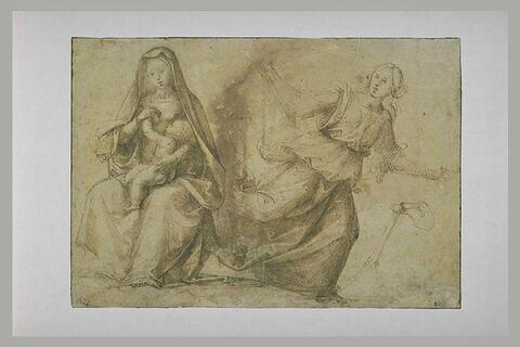 Vierge à l'Enfant assise. Femme courant. Squelette d'un bras