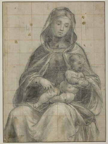 Vierge à l'Enfant, assise