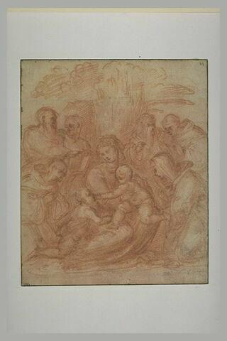 Vierge assise et l'Enfant Jésus, le petit saint Jean et six saints