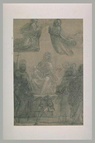 Sainte Conversation avec un petit ange musicien et deux saintes à genoux