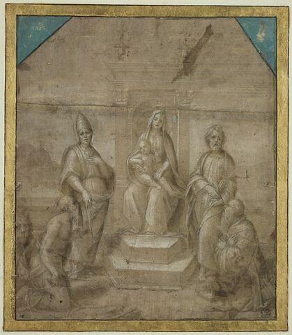 Sainte Conversation : Vierge à l'Enfant en trône entre quatre saints