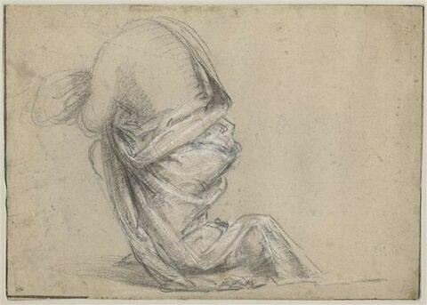 Figure drapée agenouillée, tournée vers la gauche, vue de dos