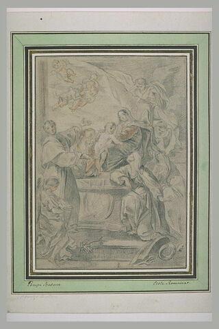 Apparition de la Vierge et de l'Enfant à un groupe de religieux