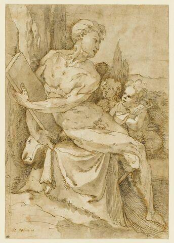 Jonas (?) assis, tenant une tablette, avec deux putti