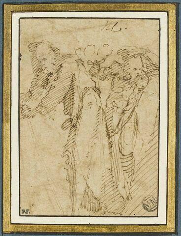 Deux vieillards appuyés sur un bâton
