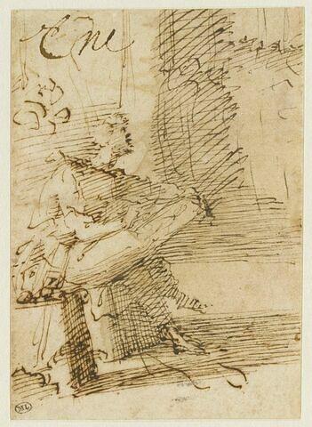Zeuxis assis, vu de profil à droite, dessinant